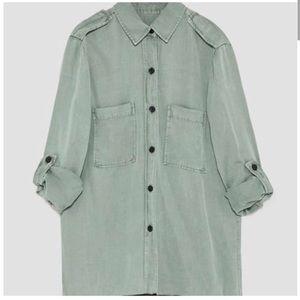 Zara Chambray Military Style  Blouse GUC Small